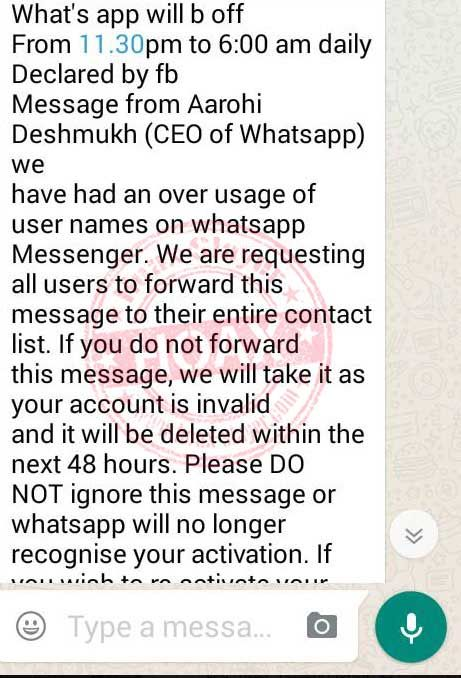 Whatsapp Hoax   HoaxSlayer    Instant Messaging
