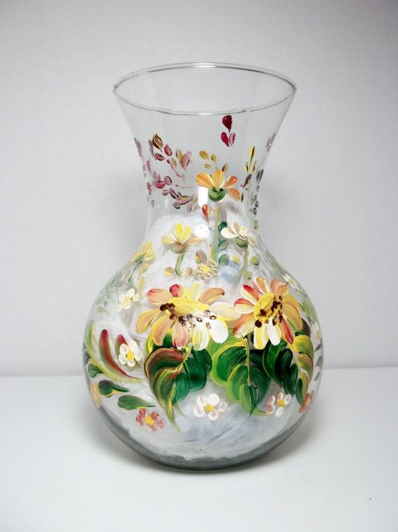 Vintage French Hand Painted Floral Enamel on Pottery Vases Set of 2