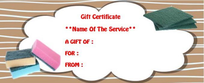 House Cleaning Gift Certificate House Cleaning Gift Certificate