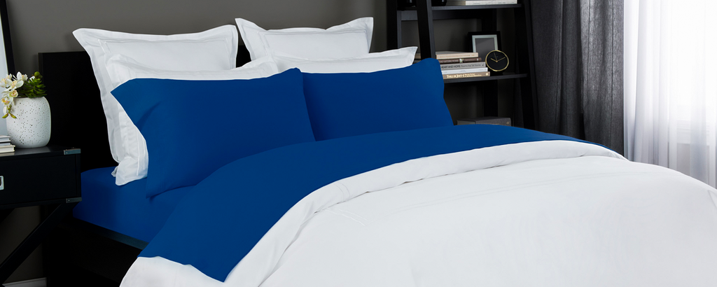 Jersey Knit Sheet In White Colbalt Blue Lelaan Offers The Pure Quality Best Prices And S On These Sheets Heather Set