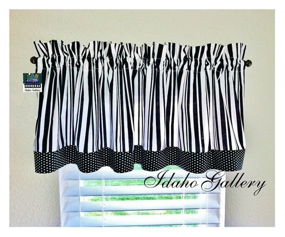 Black And White Stripes And Polka Dots Kitchen Curtain Or