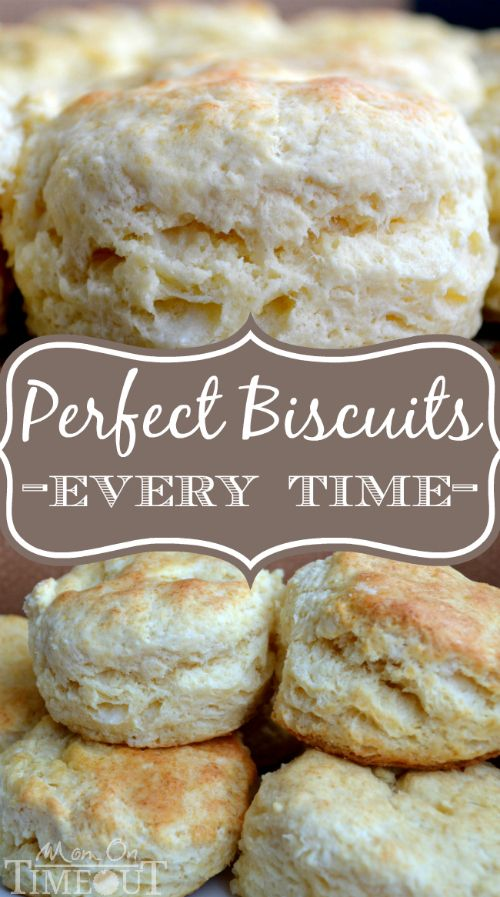 Perfect Biscuits Every Time! _ Just a few minutes away with this delicious and easy-to-follow recipe! This recipe has never failed me and after much tweaking it is my go-to biscuit recipe. The biscuits rise up nice and fluffy and the lots of butter ensures a tender, delicious biscuit each and every time.
