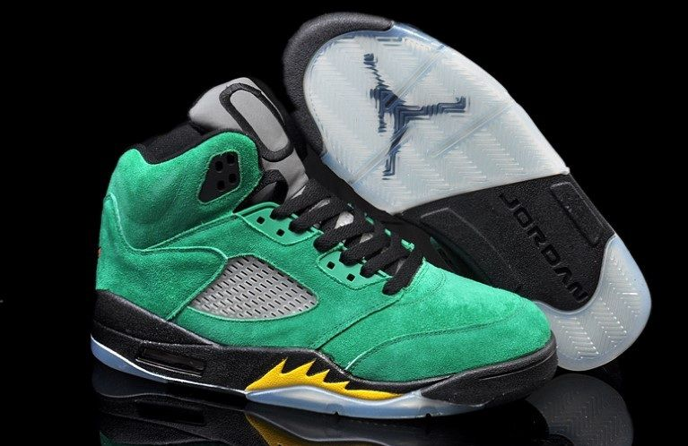 f3670c6ceda8 454803-535 Air Jordan 5 Oregon Ducks Black Apple Green-Yellow Strike  149  ...