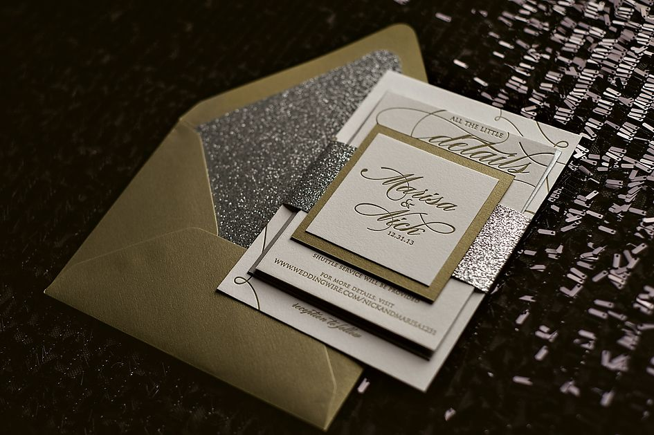 Silver and Gold Glitter Wedding Invitations New Years Eve