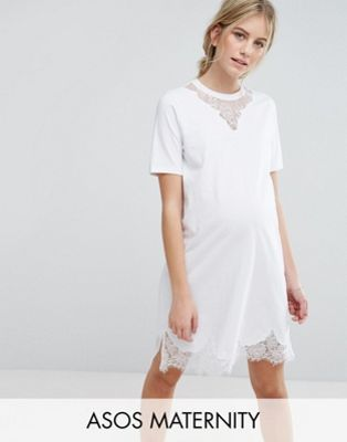ASOS Maternity T-Shirt Dress with Lace Inserts