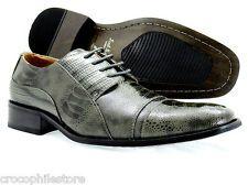 Izak M Mens Dress Shoes Oxford Lace Up Grey Crocodile Gator Prints Fashion Shoes