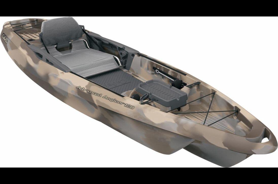 Cabela 39 s advanced anglers 120 fishing kayak kayaks for Kayak accessories for fishing