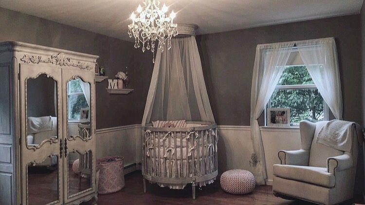 Restoration Hardware Ellery Baby Nursery Round Crib Canopy Chandelier