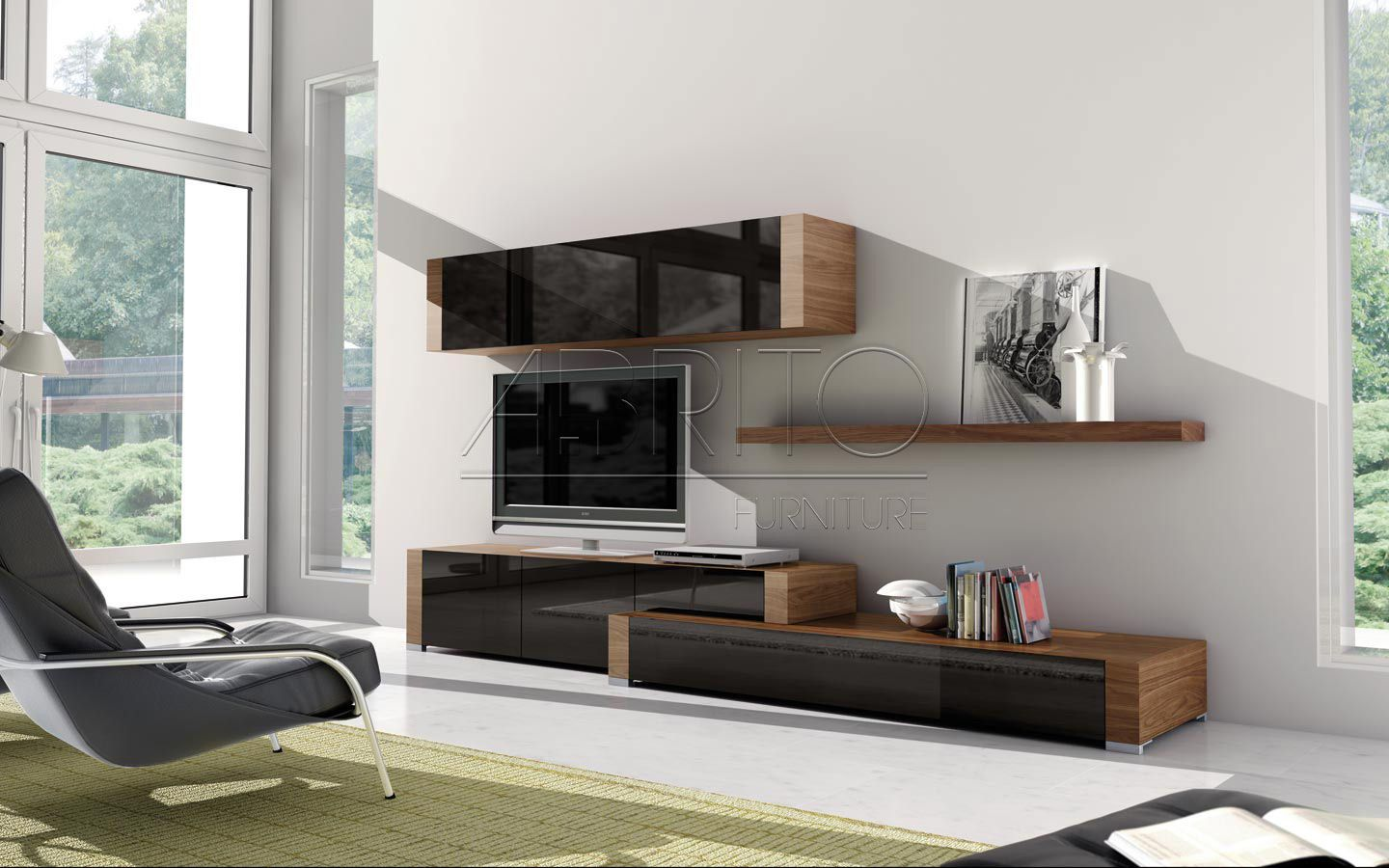 ensemble mural tv contemporain en verre en bois nagare. Black Bedroom Furniture Sets. Home Design Ideas