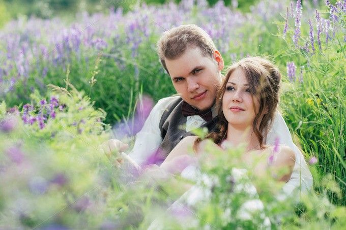 portrait of the bride and groom resting on a lavender background. Be My Valentine. $10.00