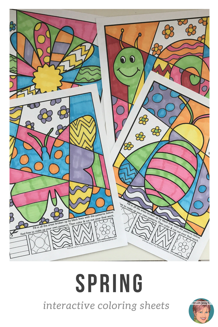 - Spring Pop Art Interactive Coloring Pages + Writing Fun Spring