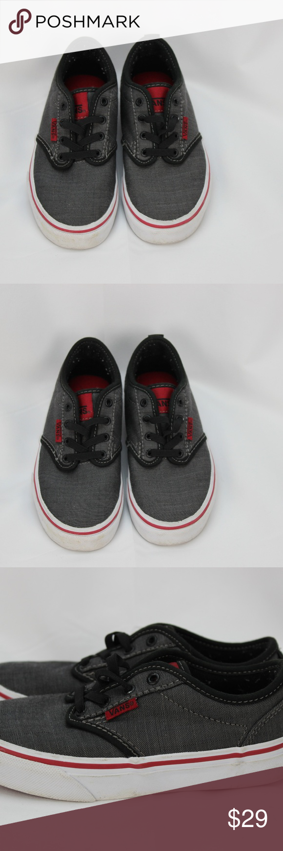 cc972efbfe93ff Boys Vans Atwood Size 12.5 Youth Gray and Red Excellent pre-owned  condition. Boys Vans Atwood slip on