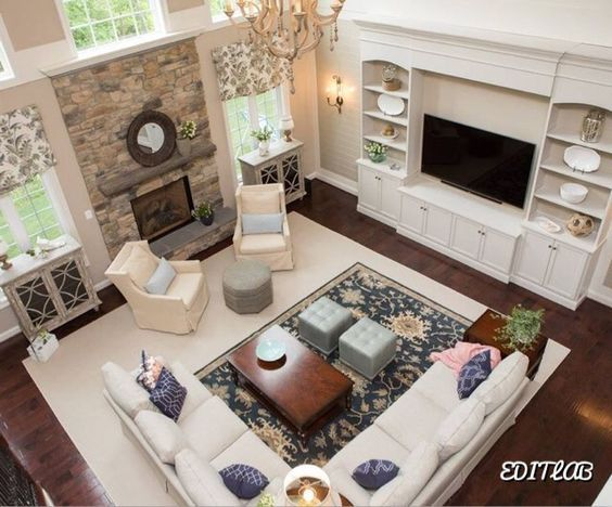 2 Sitting Areas Chairs And Side Table In Front Of Fireplace And Sectional Sofa Area In Front Of Family Room Layout Livingroom Layout Living Room Arrangements