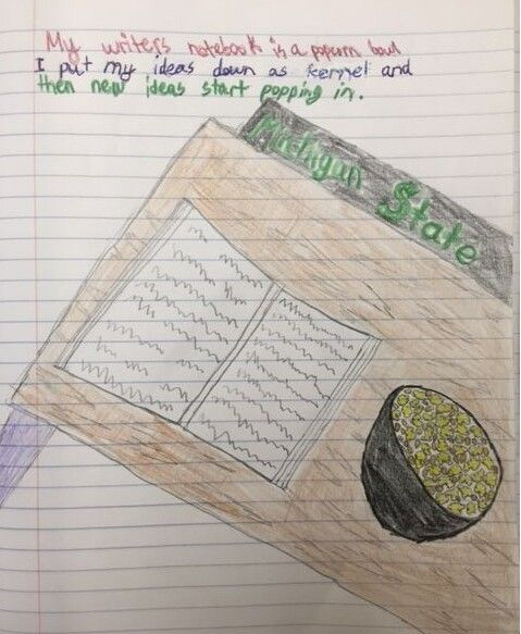 """One of four student metaphor """"winners"""" from our 2015 writer's notebook metaphor contest!  This one came from Collin, one of Ms. Gruenhagen's students, a great writing teacher from Michigan. Click image to see the assignment and learn about our annual notebook metaphor contest!"""