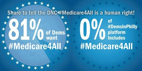 July 25th share online to tell the DNC #medicare4all is a human right!