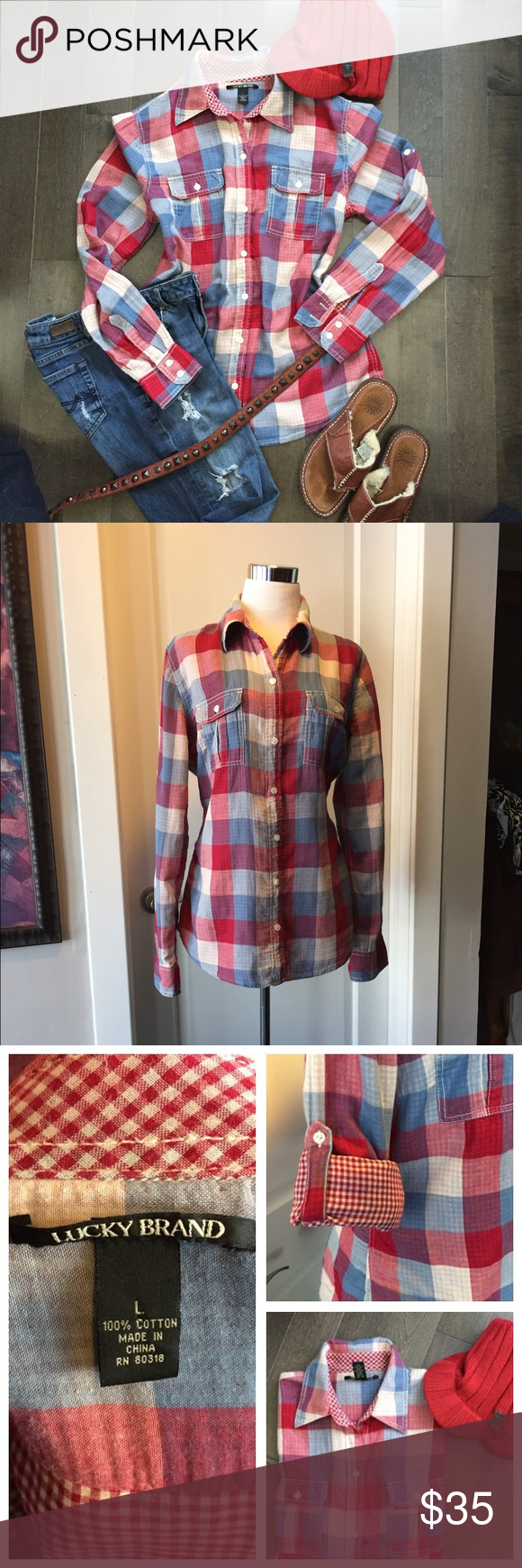 completely lined lucky brand shirt Super cute, completely lined lucky brand shirt. Great colors with this plaid.❤️❤️ Lucky Brand Tops Button Down Shirts