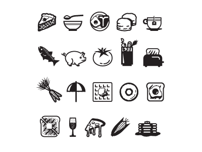 Icon set for a piece in Los Angeles Magazine: Breakfast in LA.