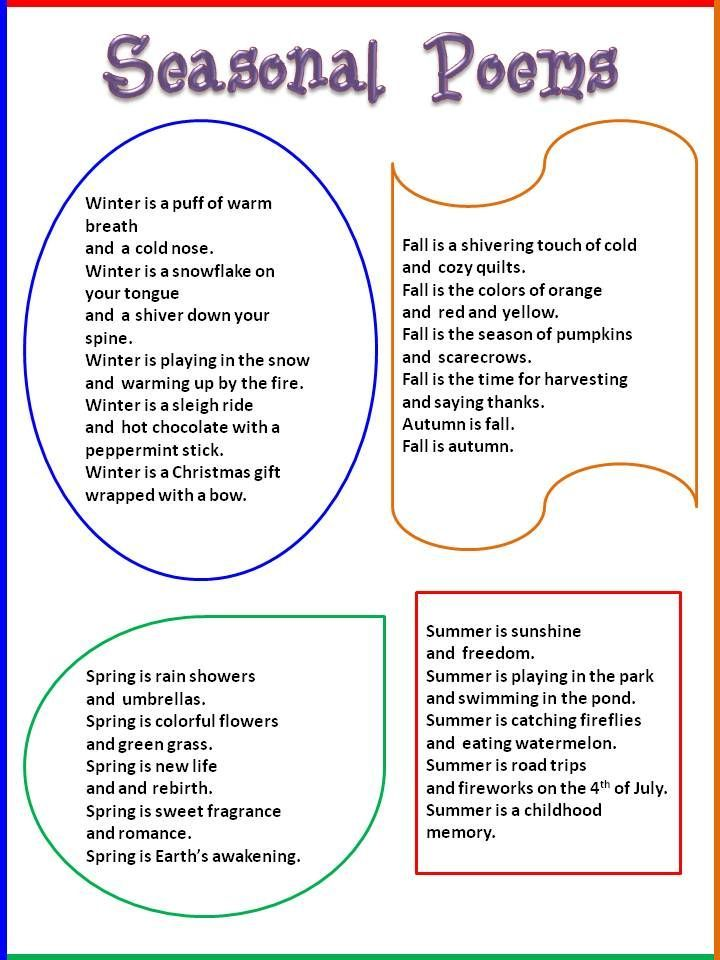 seasons poems ks1 - Google Search | Enkku | Pinterest | Englisch
