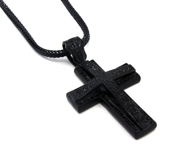Delisa mcadoo is a black atheistyes they do exist aw mens large two cross black tone iced out pendant franco chain necklace length 4 inches x width 2 inches black tone iced out pendant aloadofball Image collections