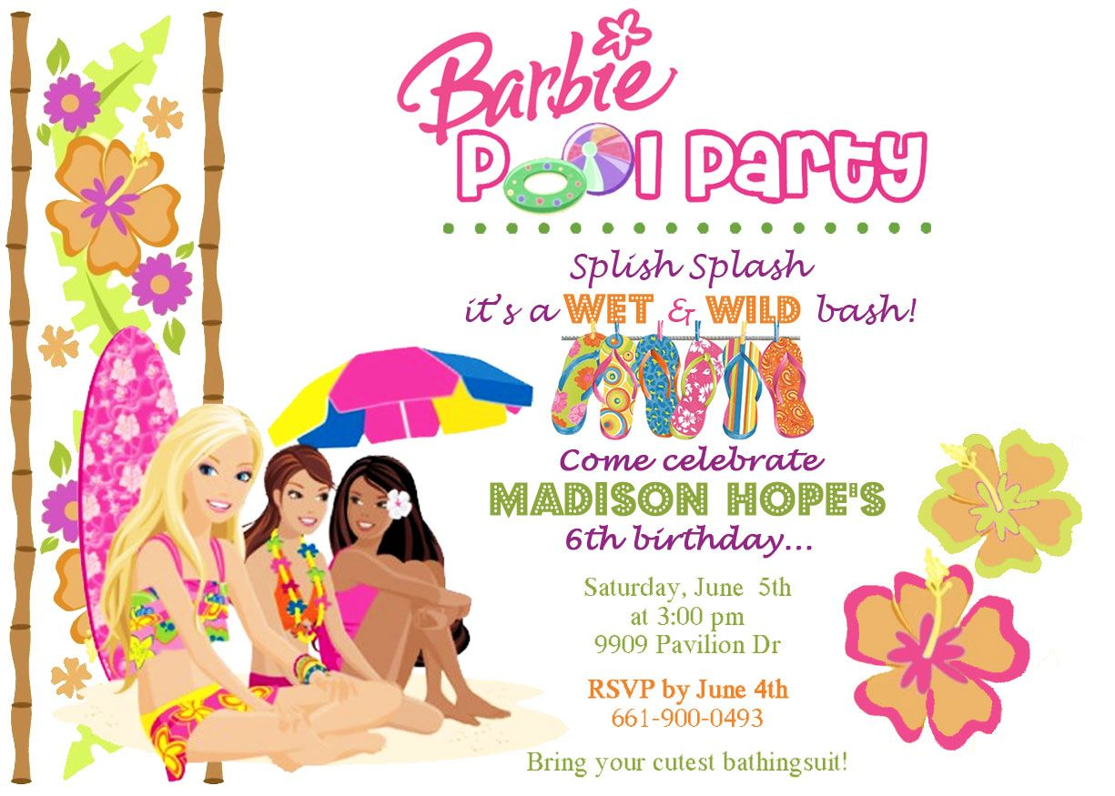 Barbie Birthday Invitation Theme Party Bash Ideas