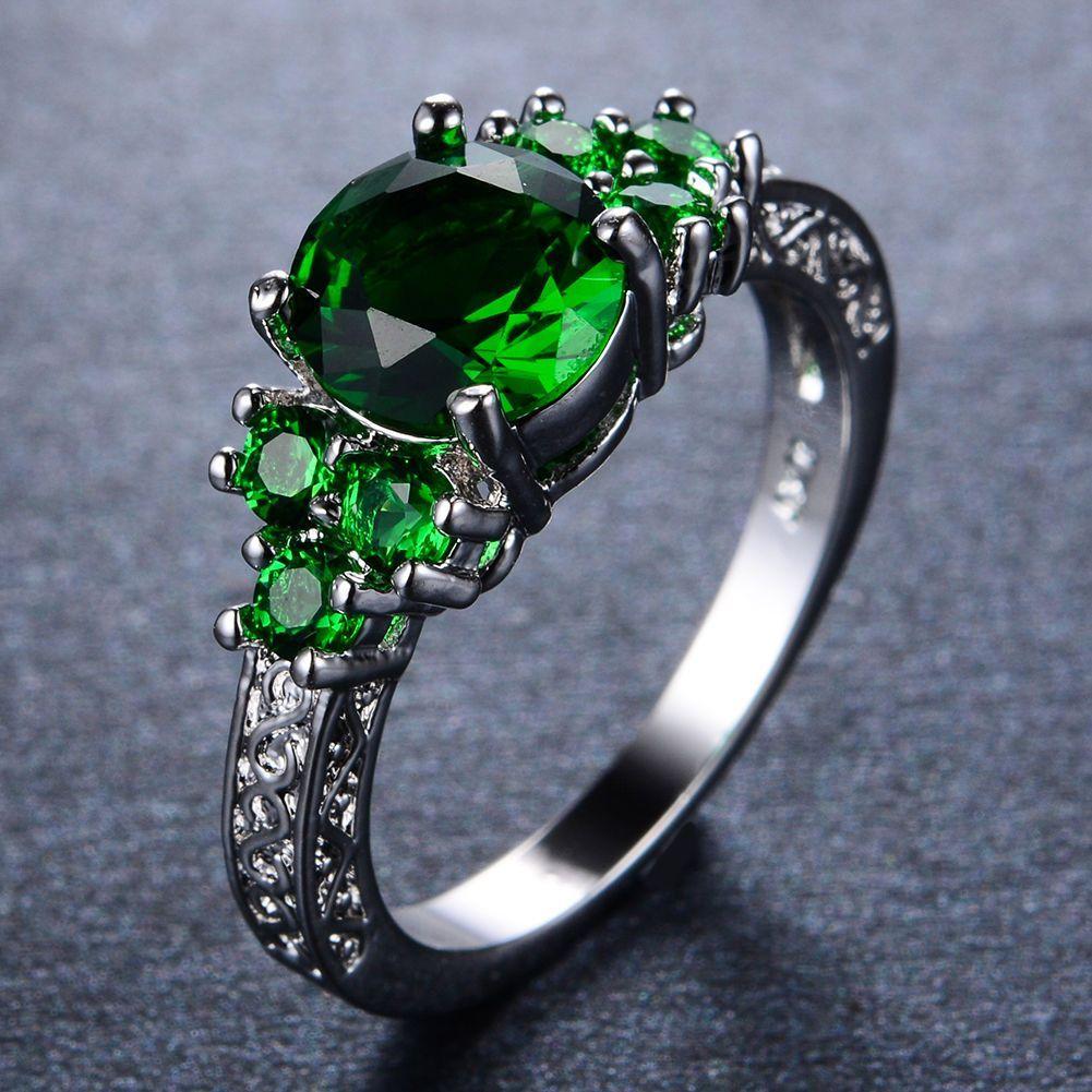Emerald Green Wedding Ring Cz 10Kt White Gold Filled Sz M