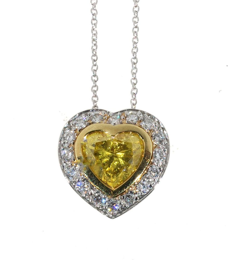 Estate Fancy Vivid Yellow Natural Diamond k Yellow Gold Heart