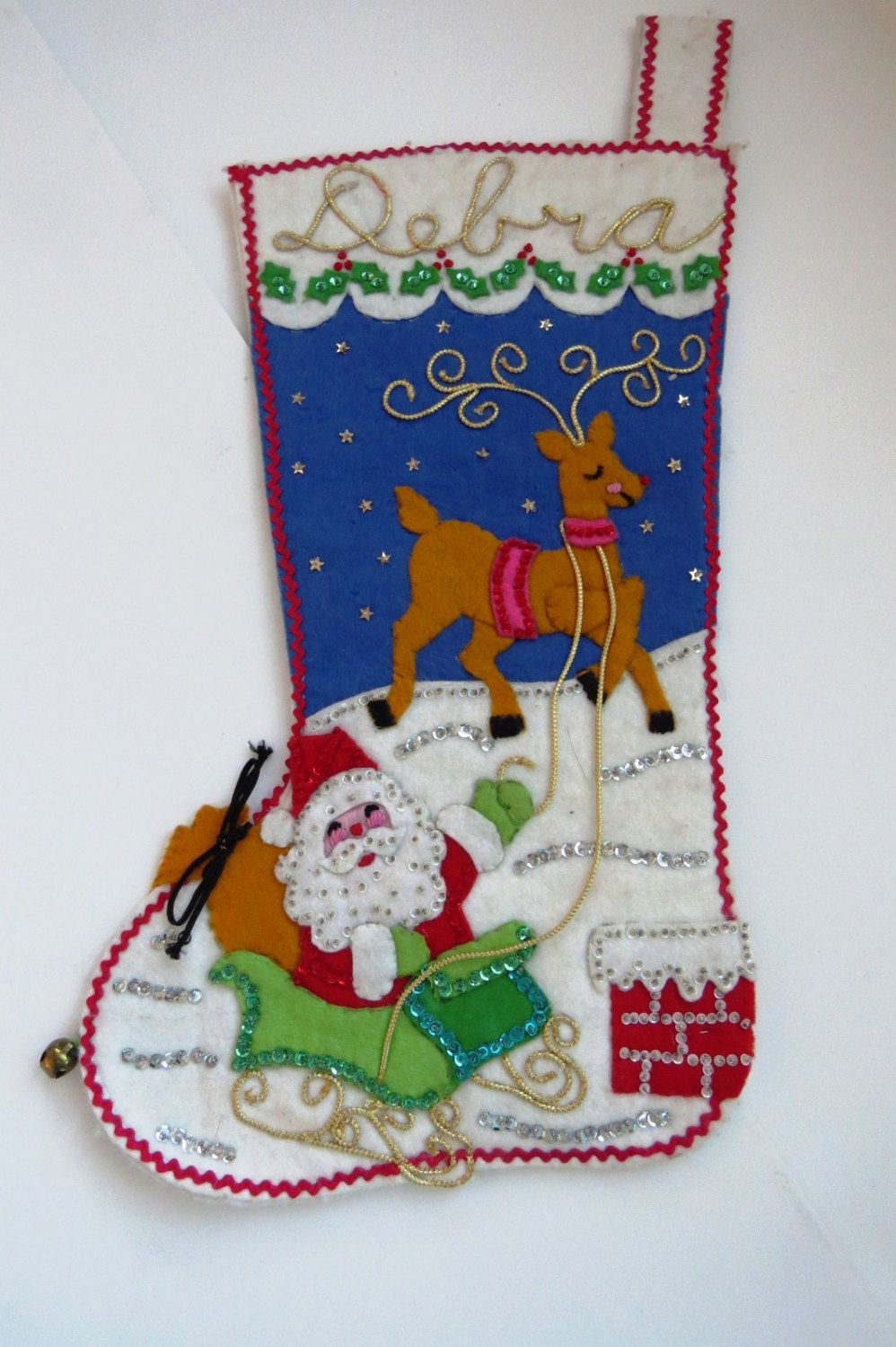 Handmade Christmas Stockings Vintage Felt Christmas Stocking Completed Bucilla Handmade