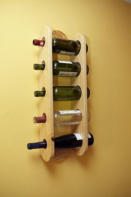 Vinera de pared en pino natural con capacidad para 5 botellas ...