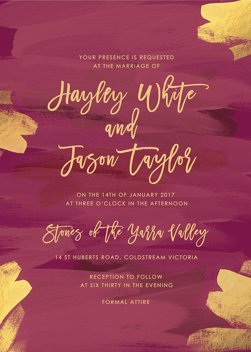Plum and Gold Burgundy Wedding Invitations | Burgundy Wedding ...