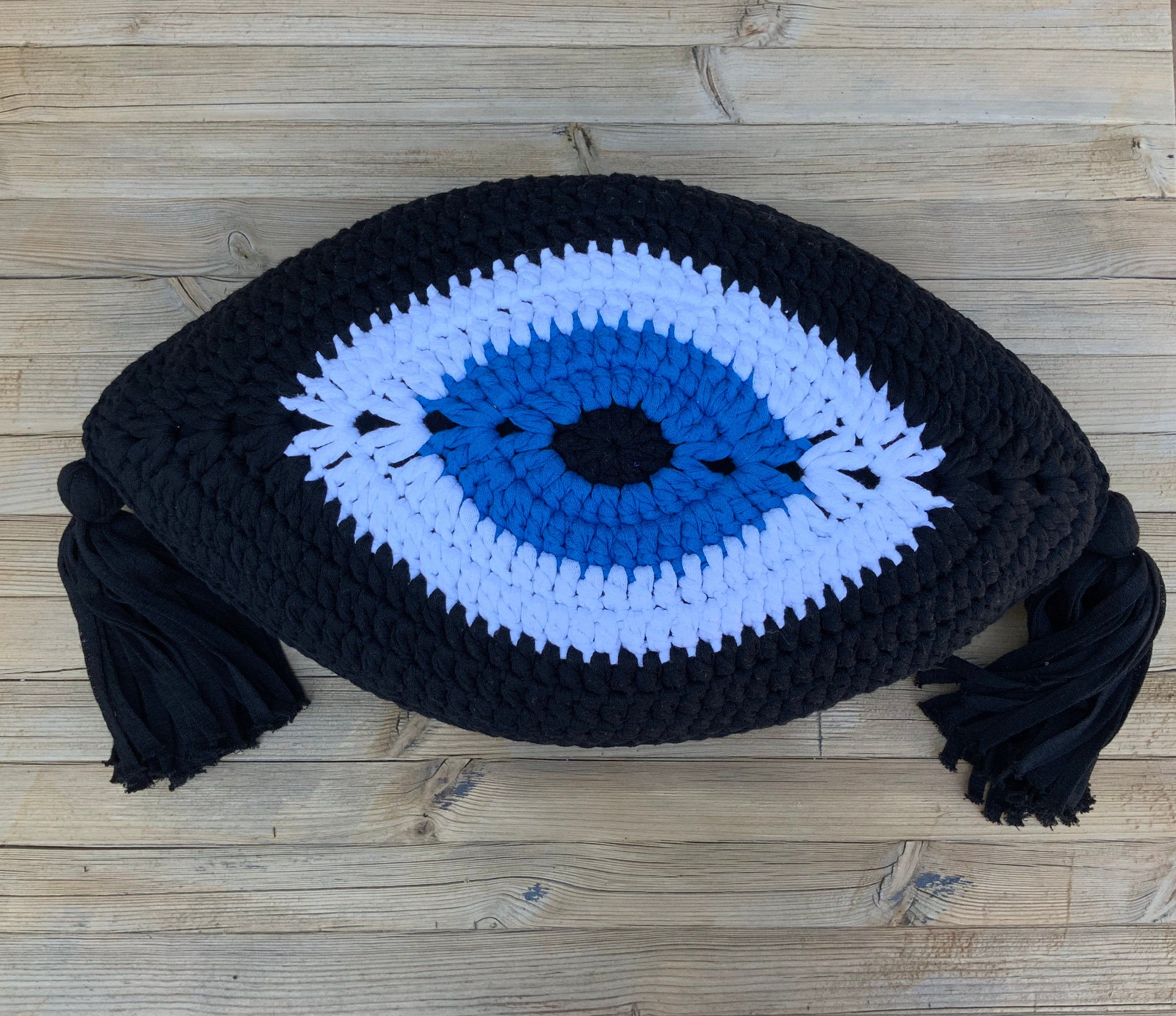 Crochet evil eye cushion, evil eye shaped cushion, Mati