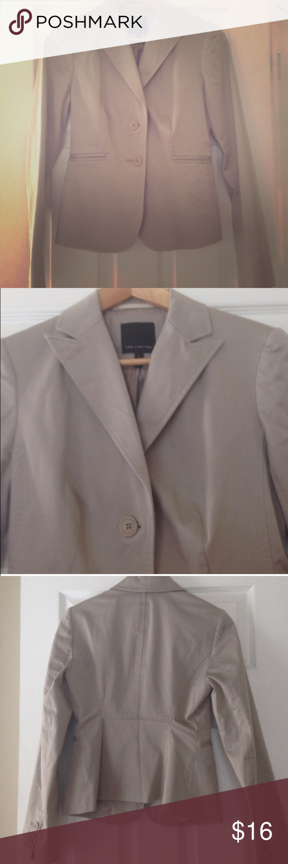 The limited taupe blazer. Perfect except a very minor tear on the said of a pocket. Will post a photo. This is a staple piece and the color goes with everything. The Limited Jackets & Coats Blazers