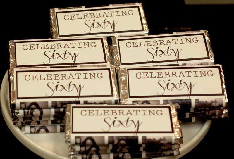 Adult 60th Birthday Personalized Mini Candy Bar Wrapper Sticker
