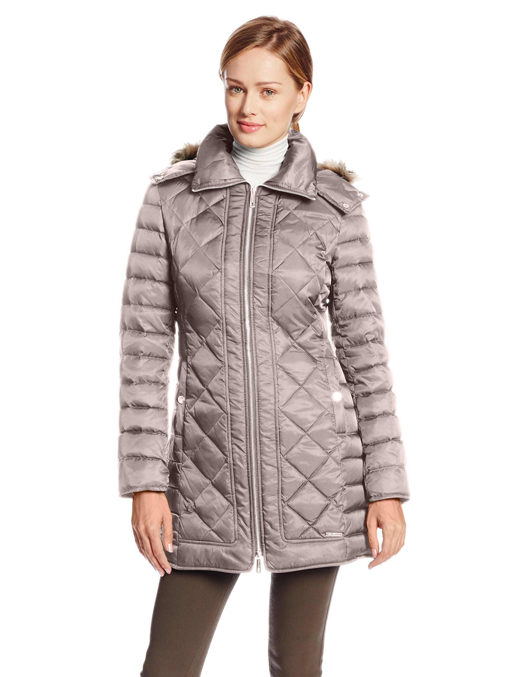 Kenneth Cole New York Women S Diamond Quilted Down Coat Fawn X