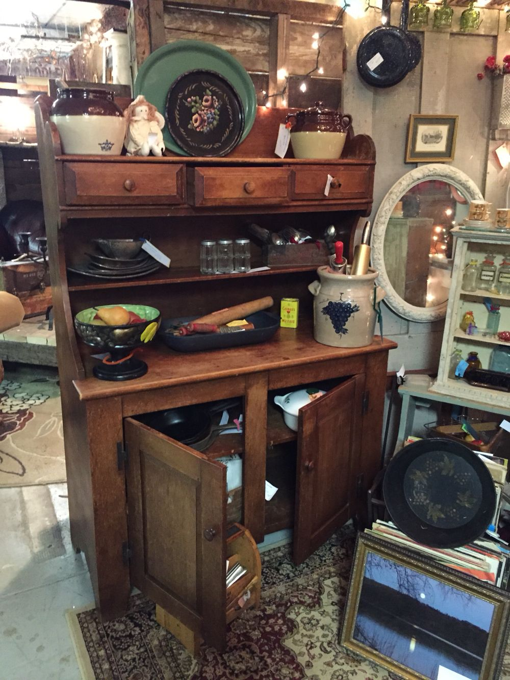 Bohemian Galz Booth Display With Primitive Cupboard And