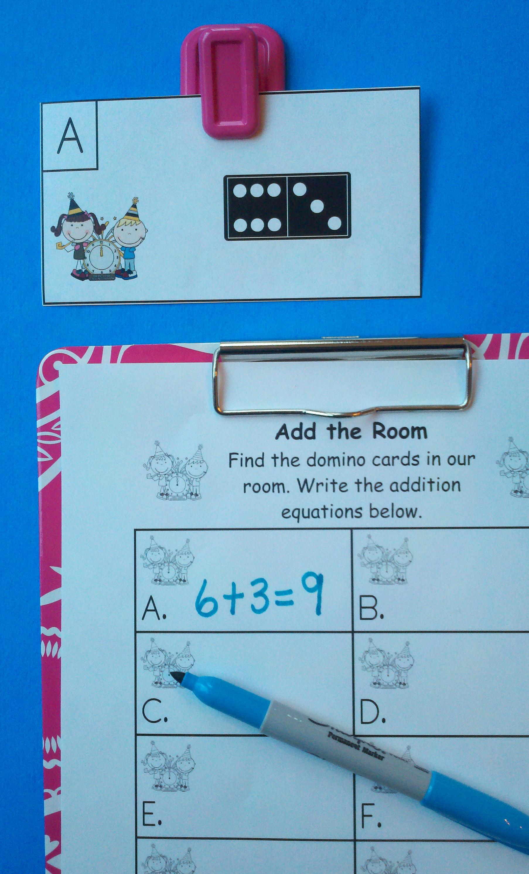 Domino Addition Worksheet For Kindergarten
