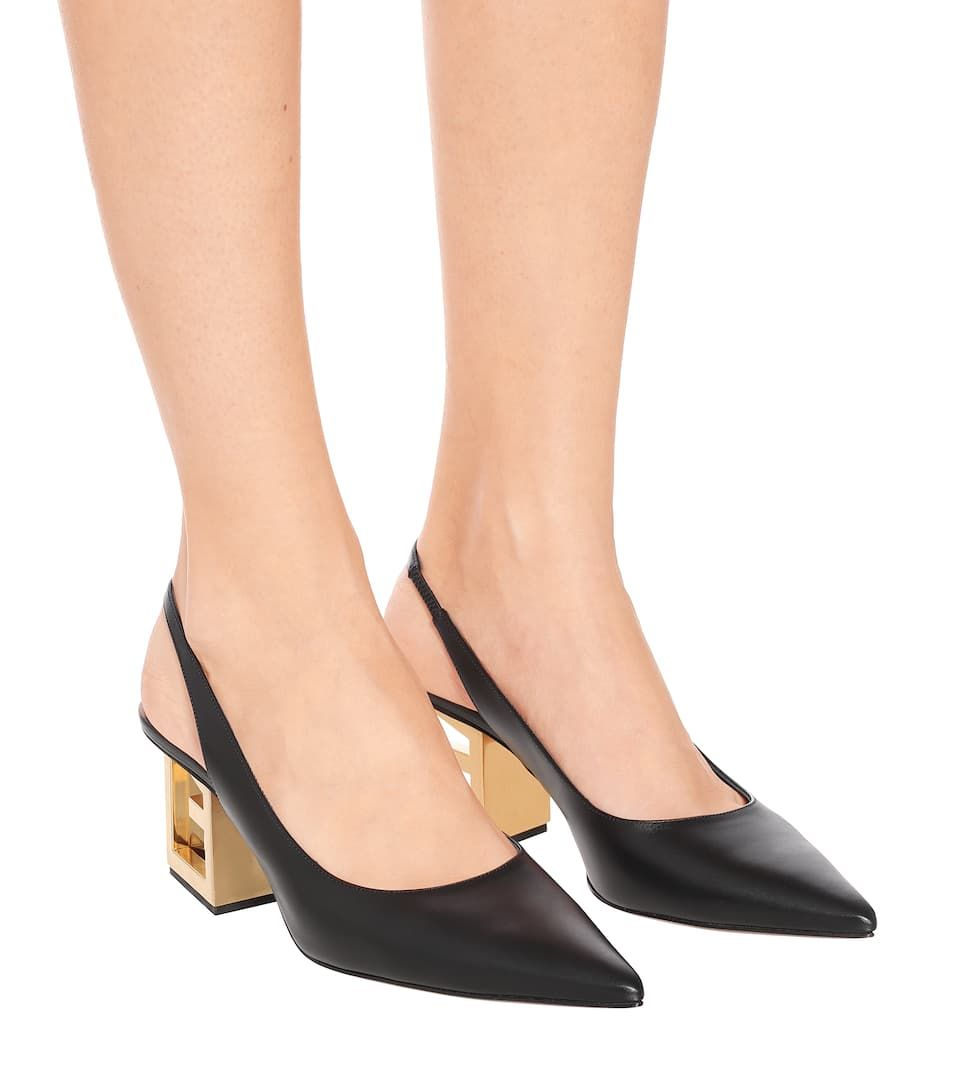 Pumps slingback Triangle in pelle