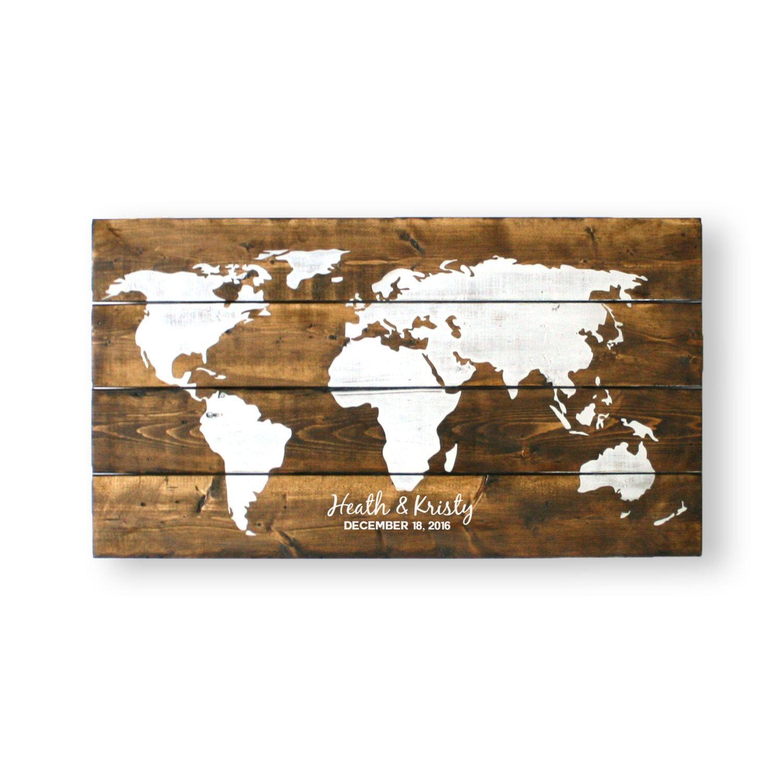 Travel Theme Wedding- World Map- Wedding Guest Book Alternative ...