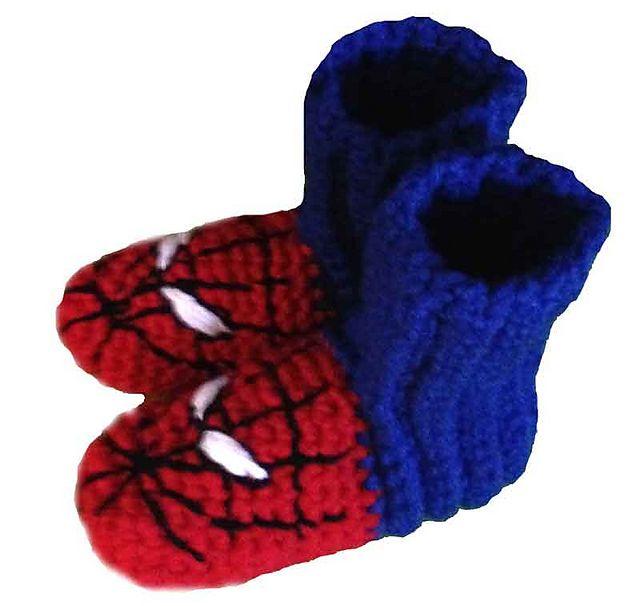 Spiderman Crochet Slippers | naaldwerk | Pinterest | Häkeln baby ...