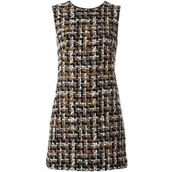 Dolce & Gabbana bouclé shift dress (3.840 BRL) ❤ liked on Polyvore featuring dresses, brown shift dress, sleeveless dress, multi color dress, brown dress and brown sleeveless dress