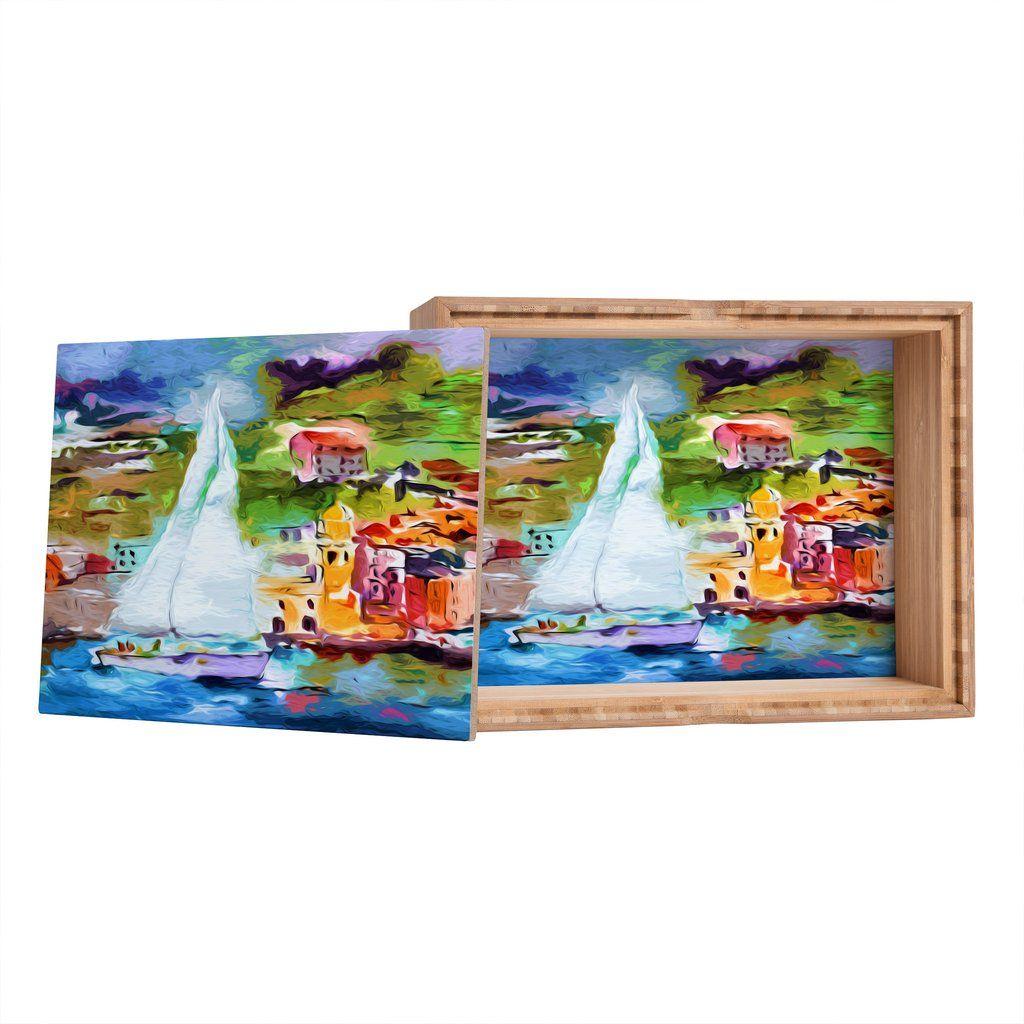 Ginette Fine Art Sailing Past Vernazza Italy Storage Box | DENY Designs Home Accessories