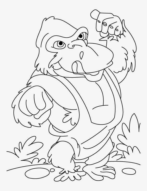 Cute Gorilla Coloring Page | Dkidspage Coloring Pages | Pinterest ...