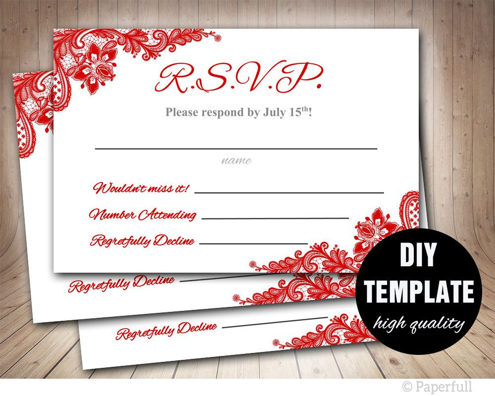 Red Lace Rsvp Template Red Wedding Response Card Red Wedding