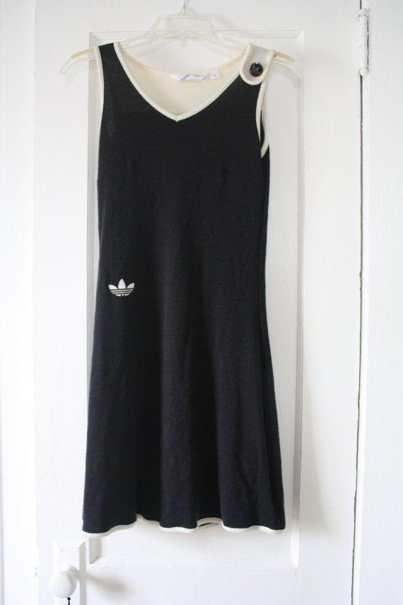 Retro 1980s Black And White Adidas Tennis Dress X Small Adidas Tennis Dress Tennis Dress White Adidas
