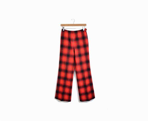 Vintage 70s #Pendleton Red Plaid Wool Pants  at  #twigandspokevintage #redplaid #uglychristmasparty