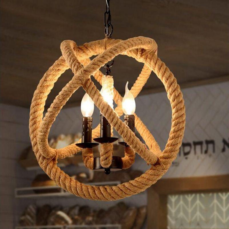 Aliexpress.com : Buy 3 Light Jute Rope Sphere Pendant Lamp Lighting Fixture Iron Frame Banded for Cafe, Restaurant Living Room Foyer Decor E14 220V from Reliable light garment suppliers on Shenzhen M-Home Co. Ltd  | Alibaba Group