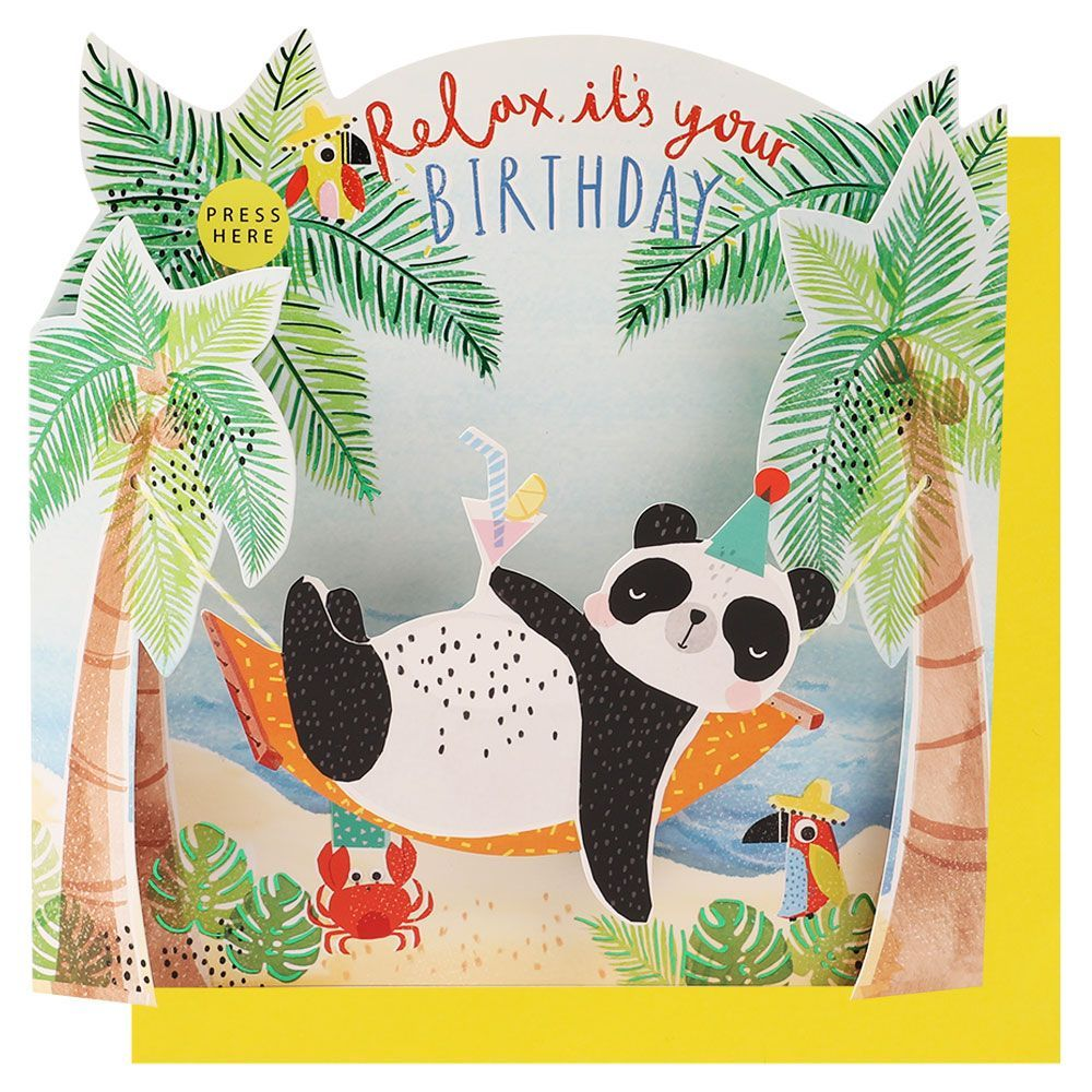 Relax It S Your Birthday Panda Musical Card Paperchase Panda Birthday Cards Musical Cards Cool Birthday Cards