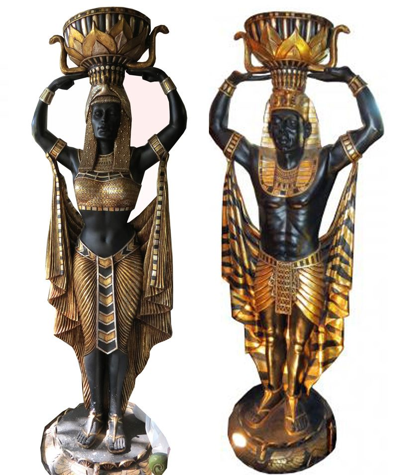 Pair life size art deco egyptian revival pharaoh statues