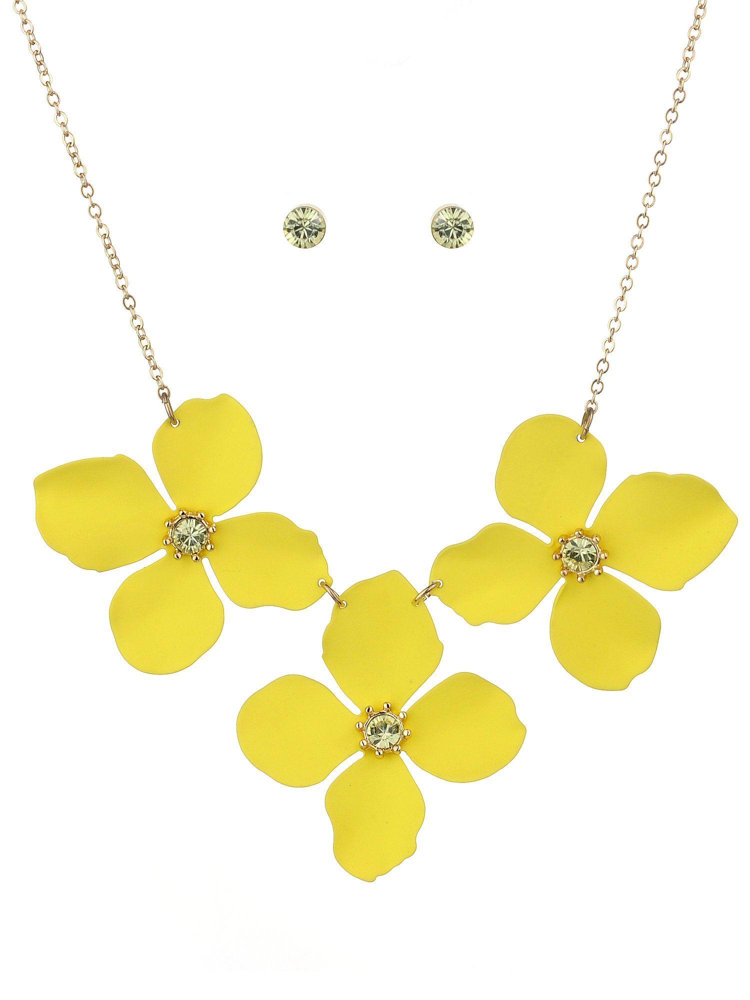 NYFASHION101 Womens Matte Flower Petal Necklace and Stud