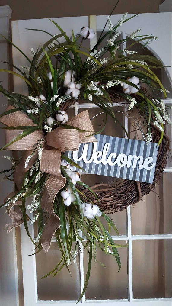 Farmhouse Wreathfarmhouse Cotton Wreath Farmhouse Wreath For Etsy Beautiful Door Wreaths Welcome Wreath Galvanized Decor