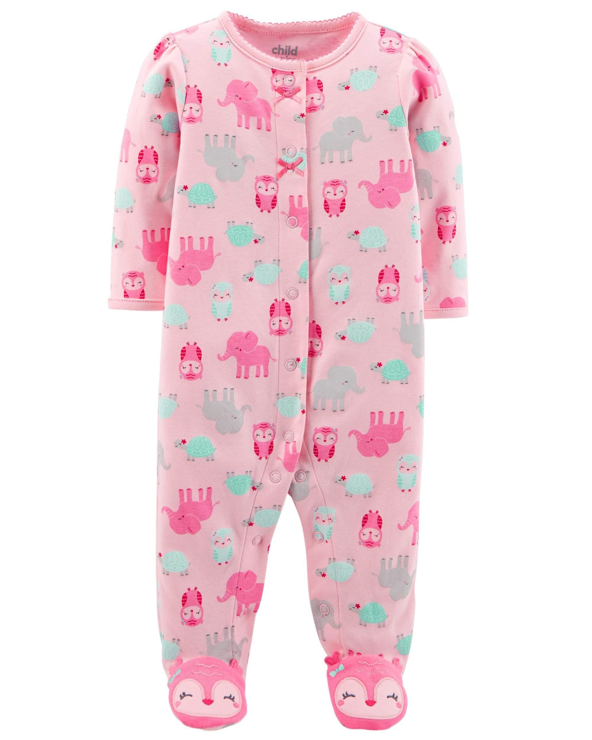 70f8ee2c2 Child of Mine Carters Preemie Baby Girl Sleepers Pajamas Sleep n ...
